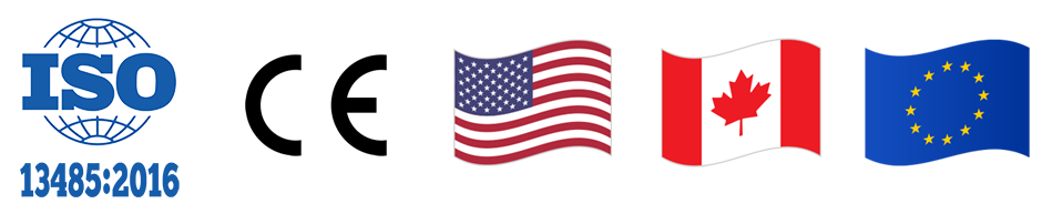 ISO 13485:2016 certification, CE certification, American flag, Canadian flag, European flag