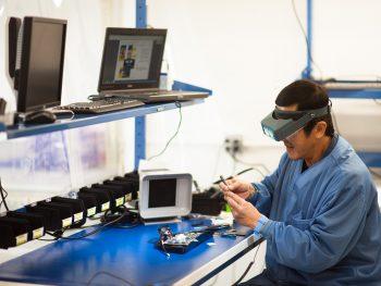 Technician soldering components